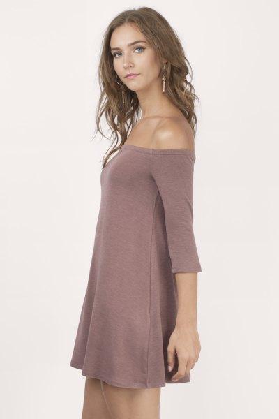 pink off shoulder swing dress