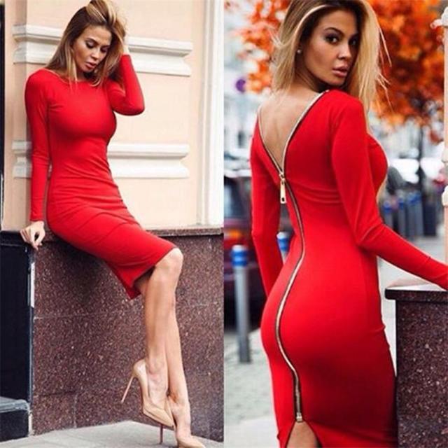 back zipper dress red classic