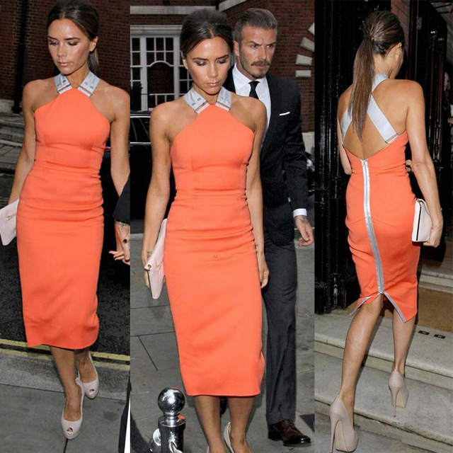 back zipper dress orange