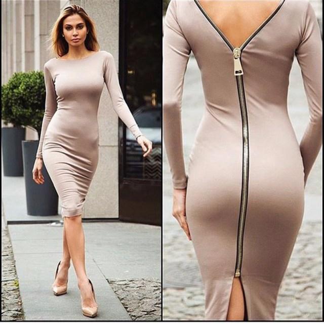 back zipper dress pink pink