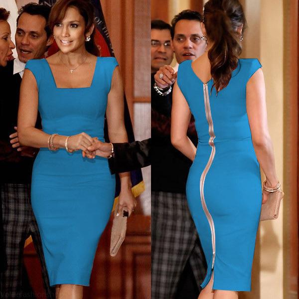 back zipper dress blue