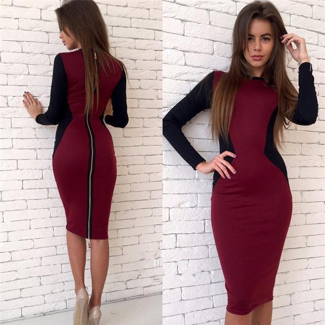 back zipper dress two toned