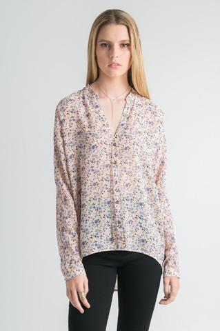 light yellow and blue floral chiffon shirt