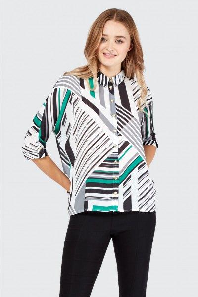white and black batwing shirt random stripes