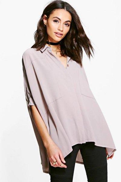 gray oversized batwing chiffon shirt