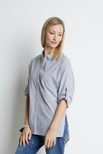 blue striped big shirt jeans