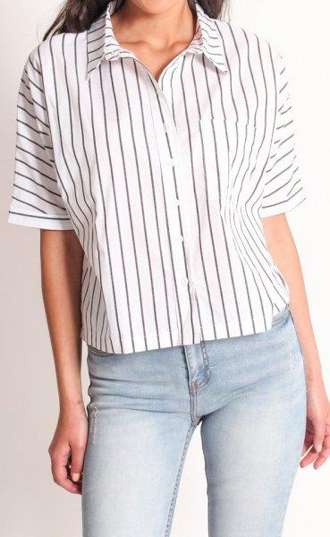 white batwing button up shirt narrow gray stripes