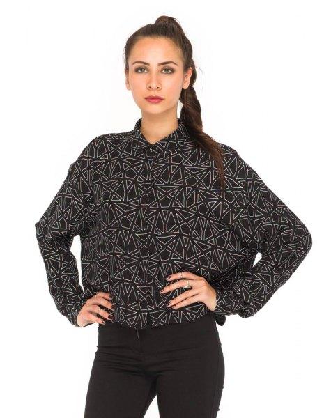 black and white printed batwing shirt