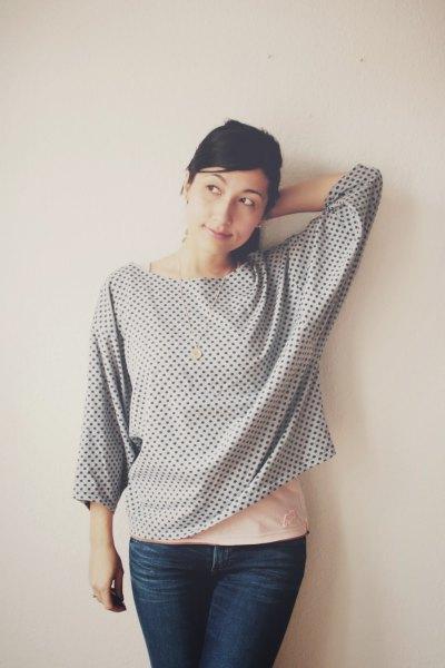 gray polka dot buttonless batwing shirt