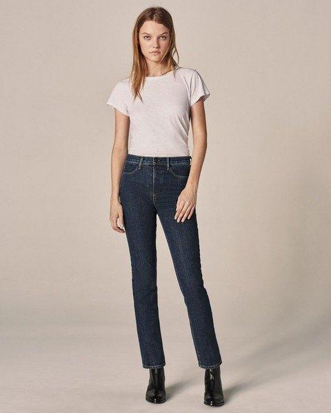 white high waist tee jeans