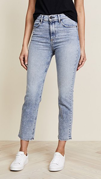 light blue washed jeans with high waist
