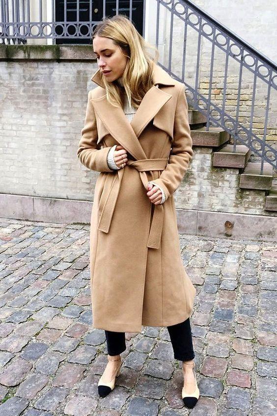 wool coat camel classic
