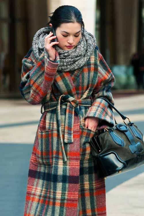 wool wrap coat checkered