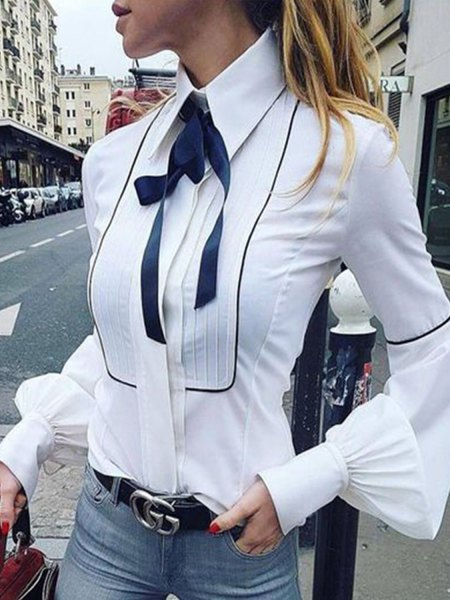 white button up shirt navy blue ribbon bow