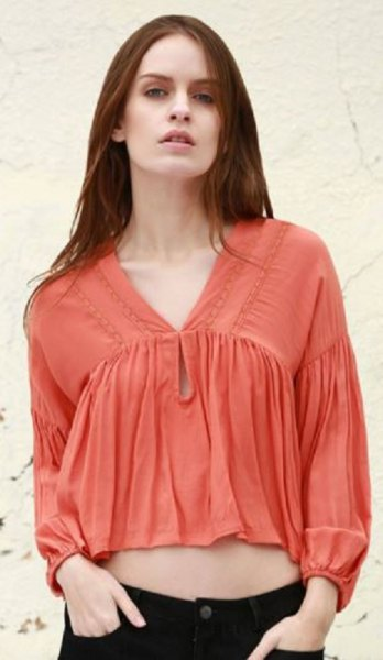 orange cropped puff sleeve v-neck blouse