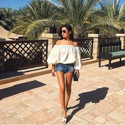 white of shoulder-puff sleeveless denim shorts