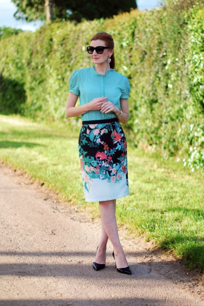 blue puffy blouse floral printed pencil skirt