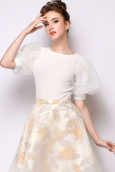 white two toned puff sleeve top flare skirt