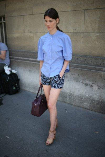 blue button up shirt black floral mini shorts