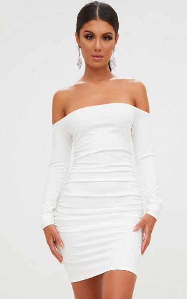 white from shoulder ruched bodycon dress