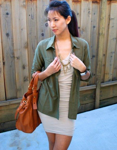 light pink dress green button up shirt