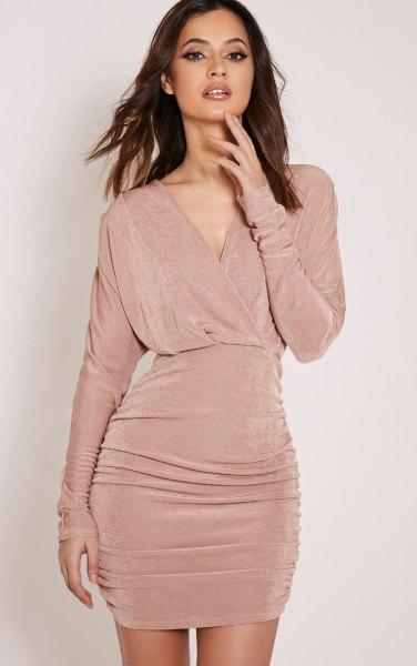 pink pink gathered waist v-neck ruched dress