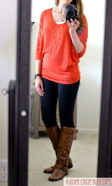 red chunky sweater skinny jeans
