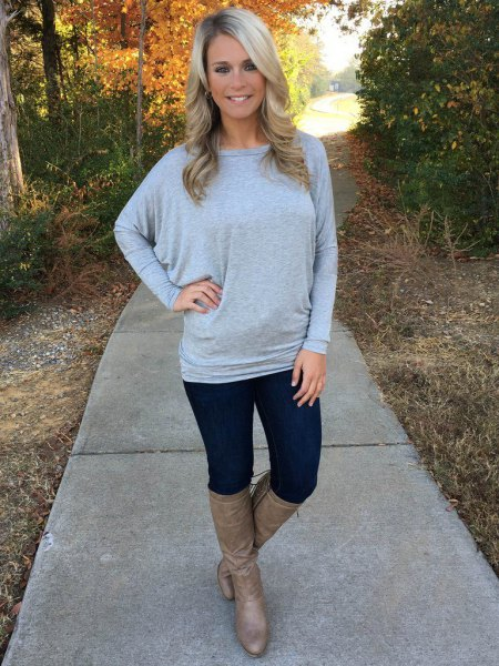 gray dolman sleeve boat neck sweater boots