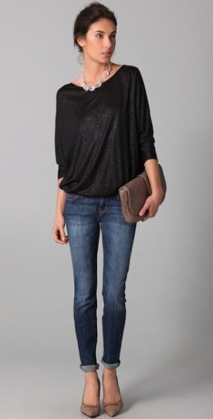 black dolman sleeve top skinny jeans