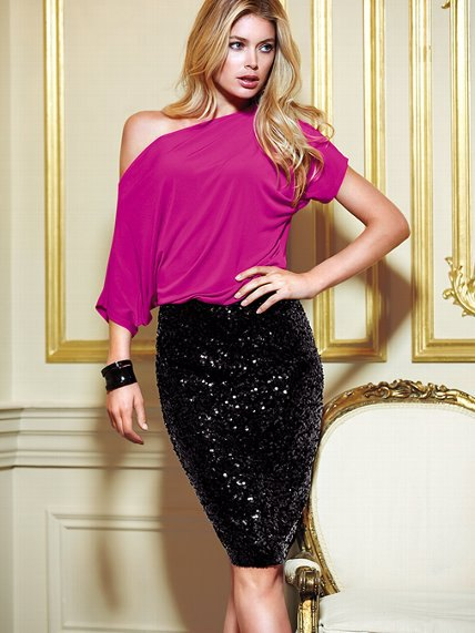 pink one shoulder dolman sleeve top black sequin skirt