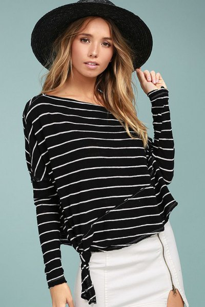 striped dolman sleeve top white skirt