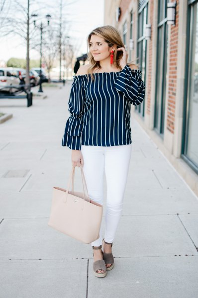black and white vertical striped shoulder blouse