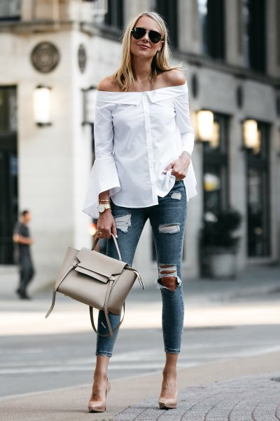 white from shoulder bell shirt