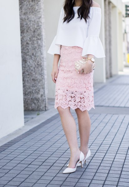 white off the shoulder blush pink lace skirt