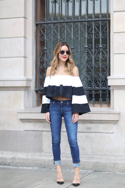 color block bell sleeveless jeans