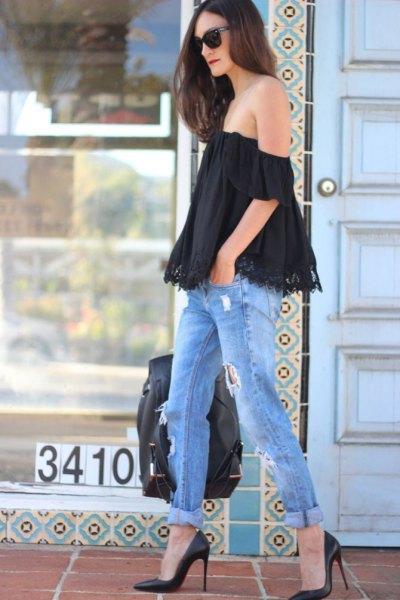 black lace top ripped boyfriend jeans