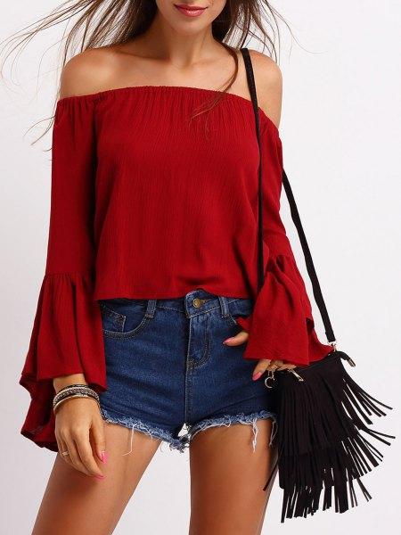 red denim shorts top