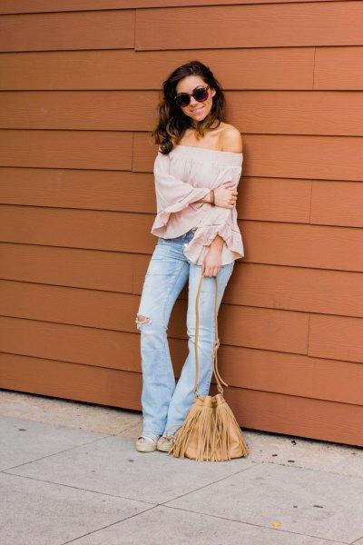 pink rose of shoulder blouse flared jeans