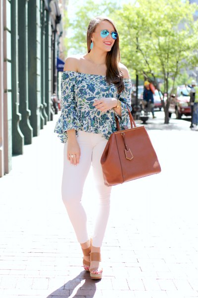 floral watch sleeve top white skinny jeans