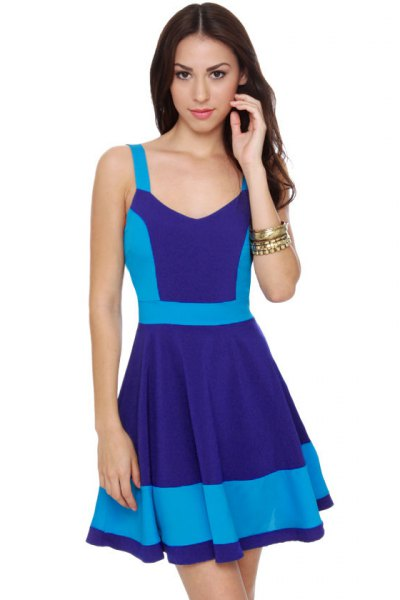 navy and sky blue color skater mini skater dress