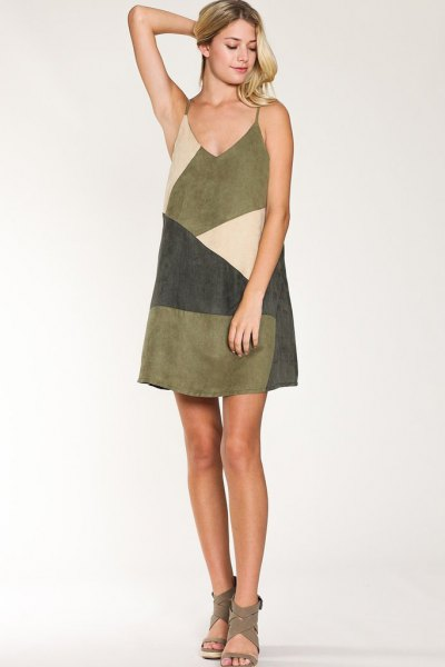 diagonal color block suede dress