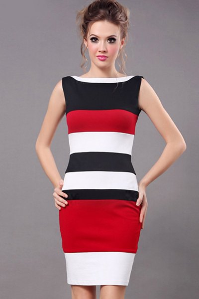 black red white sleeveless bodycon dress