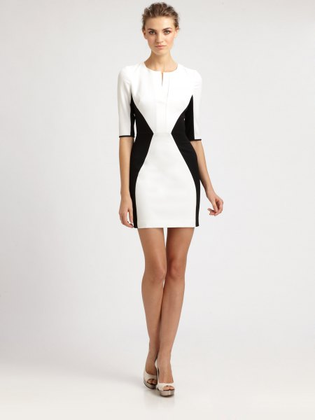 white and black halter bodycon mini dress