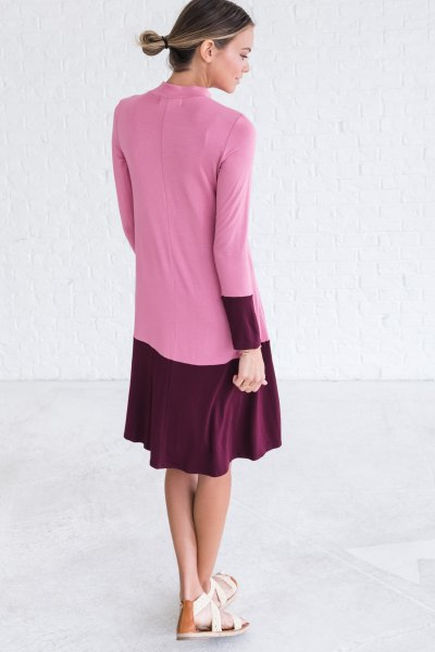 black and pink color block midi flare dress