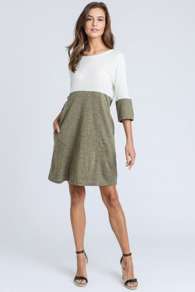 white and heather gray swing shirt for dress