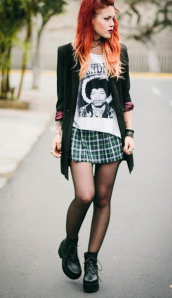 black blazer print tee mini skirt