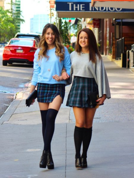 sky blue tartan mini skirt