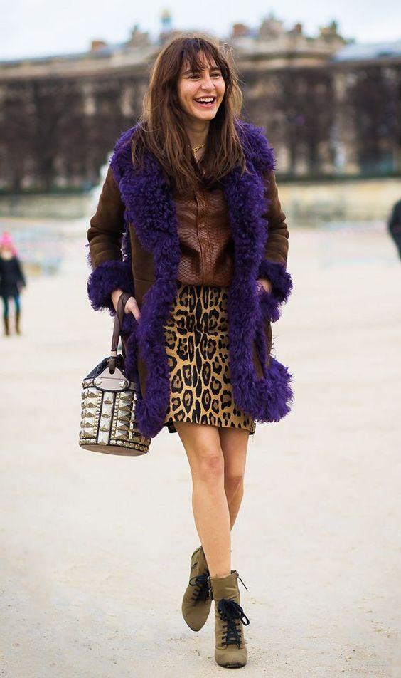 leopard print dress shearling