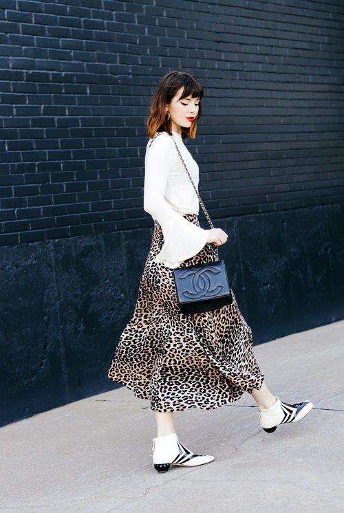 leopard print skirt white