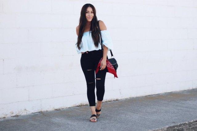 vita ruffle top denim jeans sandals